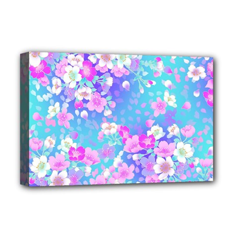 Flowers Cute Pattern Deluxe Canvas 18  X 12   by Nexatart