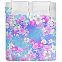 Flowers Cute Pattern Duvet Cover Double Side (california King Size) by Nexatart