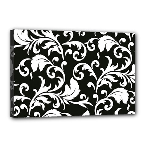 Black And White Floral Patterns Canvas 18  X 12  by Nexatart