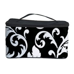 Black And White Floral Patterns Cosmetic Storage Case by Nexatart