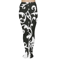 Black And White Floral Patterns Women s Tights