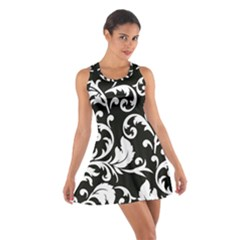 Black And White Floral Patterns Cotton Racerback Dress