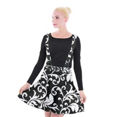 Black And White Floral Patterns Suspender Skater Skirt
