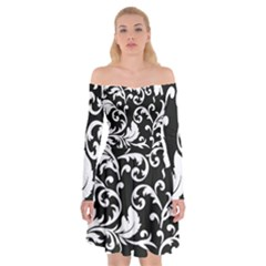 Black And White Floral Patterns Off Shoulder Skater Dress