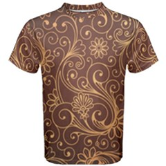 Gold And Brown Background Patterns Men s Cotton Tee