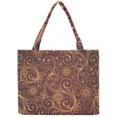 Gold And Brown Background Patterns Mini Tote Bag by Nexatart