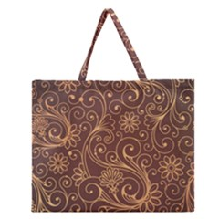 Gold And Brown Background Patterns Zipper Large Tote Bag by Nexatart
