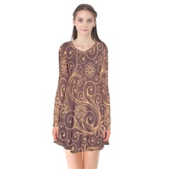 Gold And Brown Background Patterns Flare Dress