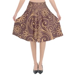Gold And Brown Background Patterns Flared Midi Skirt