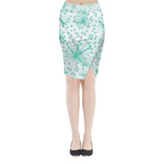 Pattern Floralgreen Midi Wrap Pencil Skirt