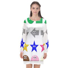Cute Symbol Long Sleeve Chiffon Shift Dress  by Nexatart