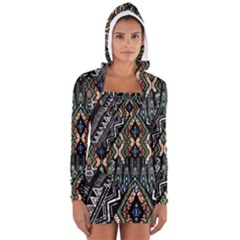 Ethnic Art Pattern Women s Long Sleeve Hooded T Shirt