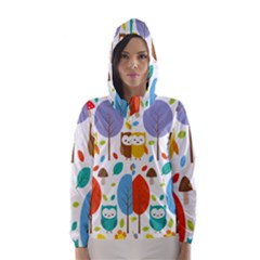Cute Owl Hooded Wind Breaker (women)