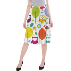 Cute Owl Midi Beach Skirt