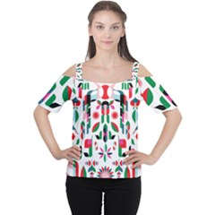 Abstract Peacock Women s Cutout Shoulder Tee by Nexatart