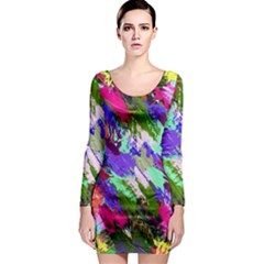 Tropical Jungle Print And Color Trends Long Sleeve Bodycon Dress by Nexatart