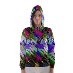Tropical Jungle Print And Color Trends Hooded Wind Breaker (women) by Nexatart