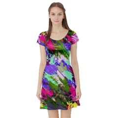 Tropical Jungle Print And Color Trends Short Sleeve Skater Dress