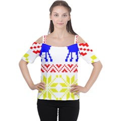 Jacquard With Elks Women s Cutout Shoulder Tee