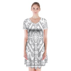 Mosaic Pattern Cyberscooty Museum Pattern Short Sleeve V Neck Flare Dress