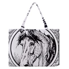 Framed Horse Medium Zipper Tote Bag by Nexatart