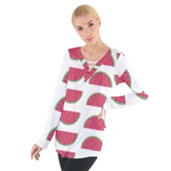 Watermelon Pattern Women s Tie Up Tee