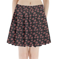 Cloud Red Brown Pleated Mini Skirt by Mariart