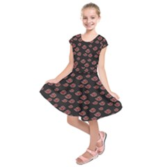 Cloud Red Brown Kids  Short Sleeve Dress by Mariart