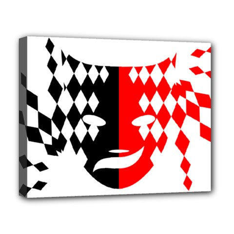 Face Mask Red Black Plaid Triangle Wave Chevron Deluxe Canvas 20  X 16   by Mariart