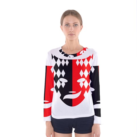 Face Mask Red Black Plaid Triangle Wave Chevron Women s Long Sleeve Tee by Mariart