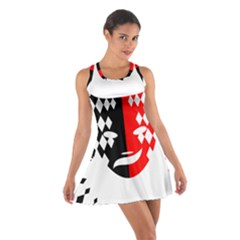 Face Mask Red Black Plaid Triangle Wave Chevron Cotton Racerback Dress by Mariart
