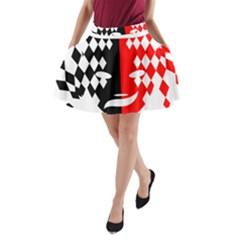 Face Mask Red Black Plaid Triangle Wave Chevron A Line Pocket Skirt by Mariart