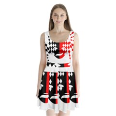 Face Mask Red Black Plaid Triangle Wave Chevron Split Back Mini Dress  by Mariart