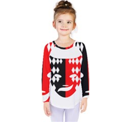 Face Mask Red Black Plaid Triangle Wave Chevron Kids  Long Sleeve Tee