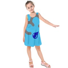 Light Rain Shower Cloud Sun Yellow Blue Sky Kids  Sleeveless Dress by Mariart