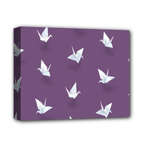 Goose Swan Animals Birl Origami Papper White Purple Deluxe Canvas 14  X 11  by Mariart