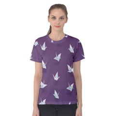 Goose Swan Animals Birl Origami Papper White Purple Women s Cotton Tee by Mariart