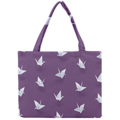 Goose Swan Animals Birl Origami Papper White Purple Mini Tote Bag by Mariart