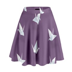Goose Swan Animals Birl Origami Papper White Purple High Waist Skirt by Mariart