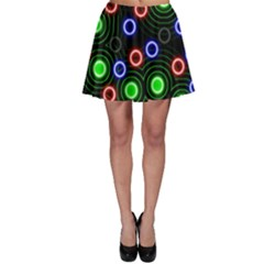 Neons Couleurs Circle Light Green Red Line Skater Skirt by Mariart