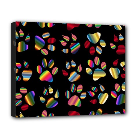 Colorful Paw Prints Pattern Background Reinvigorated Deluxe Canvas 20  X 16   by Nexatart