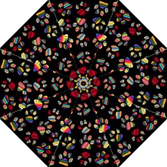 Colorful Paw Prints Pattern Background Reinvigorated Hook Handle Umbrellas (large) by Nexatart