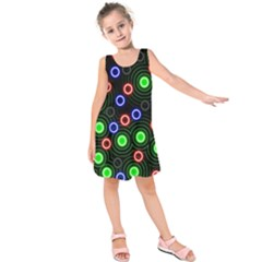 Neons Couleurs Circle Light Green Red Line Kids  Sleeveless Dress by Mariart