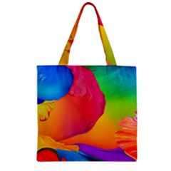 Paint Rainbow Color Blue Red Green Blue Purple Zipper Grocery Tote Bag by Mariart
