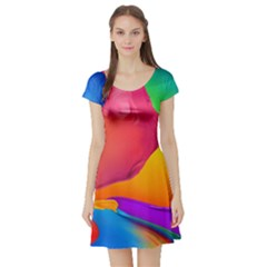 Paint Rainbow Color Blue Red Green Blue Purple Short Sleeve Skater Dress by Mariart
