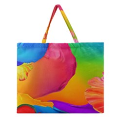 Paint Rainbow Color Blue Red Green Blue Purple Zipper Large Tote Bag