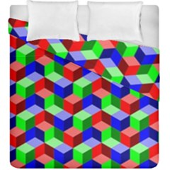 Seamless Rgb Isometric Cubes Pattern Duvet Cover Double Side (king Size)