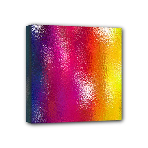 Color Glass Rainbow Green Yellow Gold Pink Purple Red Blue Mini Canvas 4  X 4  by Mariart
