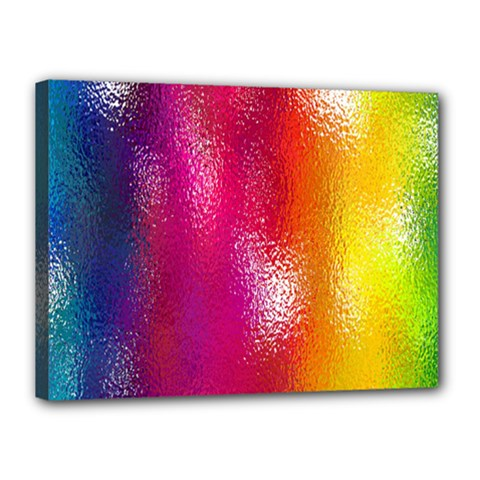Color Glass Rainbow Green Yellow Gold Pink Purple Red Blue Canvas 16  X 12  by Mariart