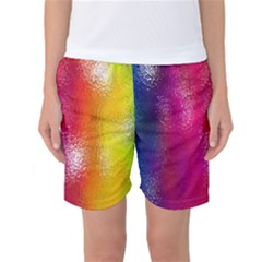 Color Glass Rainbow Green Yellow Gold Pink Purple Red Blue Women s Basketball Shorts by Mariart